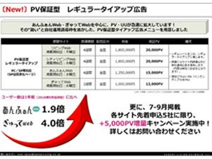 サイト急成長につき、PV保証型タイアップ広告を用意!